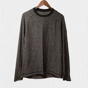 Lululemon Grey & Black Crew Neck Long Sleeve Workout Shirt Large